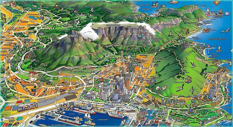 bird's eye view illustration of downtown Cape Town and table Mountain