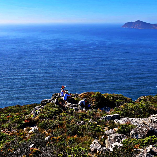 Hiking along Cape of good Hope Trail with Cape Point view