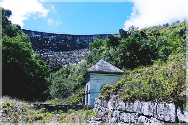Woodhead dam wall and pump-house from Disa Gorge