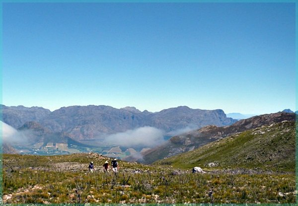 Hikers at Mont Rochelle, near Franschhoek