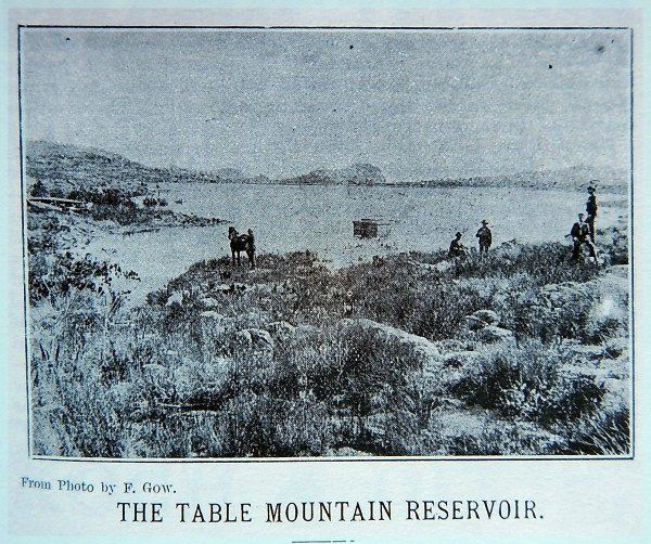 An old photo of the Table Mountain reservoir