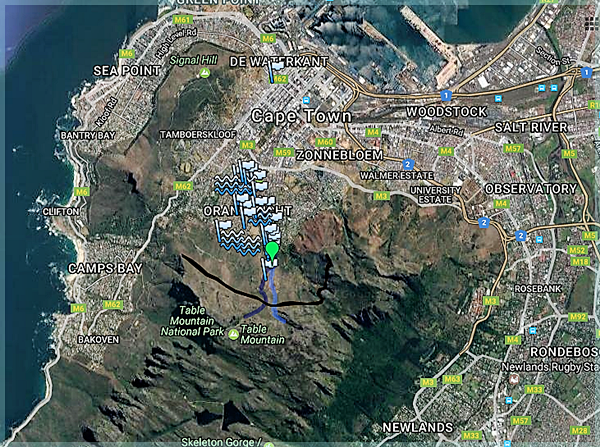 Map showing various water sources on Table Mountain