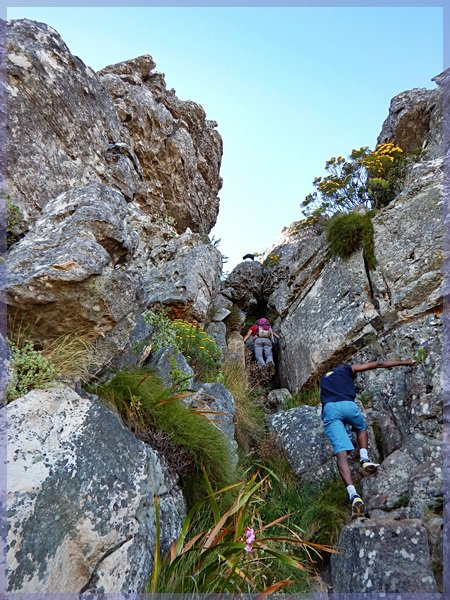 Hikers climbing a section of India Venster
